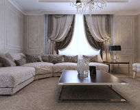 Living room classic style. Living room, art deco style, classic style 3d image Stock Photo