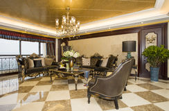 Living room. Classical luxurious living room,wide open Royalty Free Stock Photo