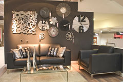 Living room with clocks