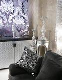 Living room coach black sofa silver furniture Royalty Free Stock Photo