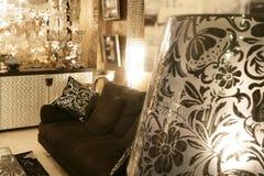 Living room coach black sofa silver furniture Stock Photo