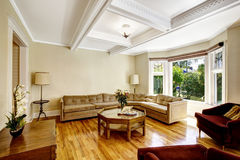 Living room with coffered ceiling system Stock Photo