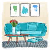 Living room colored painting Royalty Free Stock Image
