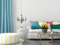 Living room with colorful pillows Stock Photo