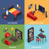 Living Room Concept Icons Set. With comfortable lounge symbols isometric isolated vector illustration Stock Image