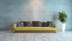 Living room with concrete wall interior design idea. Living room interior design with concrete wall 3d rendering Stock Photos