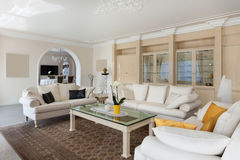 Living room, confortable white divans Royalty Free Stock Photo