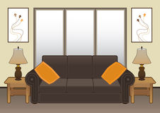 Living Room. Contemporary living room with furniture and artwork Stock Photo
