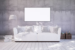 Living room with couch and empty frame on wall Stock Photos