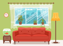 Living room cozy interior with colorful sofa. Pillow, bedside table, aquarium lamp. Vector illustration of home design with furniture and window with curtains Royalty Free Stock Photography