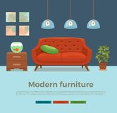 Living room cozy interior with colorful sofa. Pillow, lamp, bedside table, aquarium, house plant. Vector illustration of home design with furniture in cartoon Stock Images