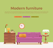Living room cozy interior with colorful sofa. Pillow, lamp, bedside table, aquarium, house plant. Vector illustration of home design with furniture in cartoon Royalty Free Stock Photos