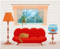 Living room cozy interior with colorful sofa. Pillow, bedside table, aquarium lamp. Vector illustration of home design with furniture and window with curtains Stock Image