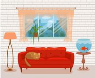 Living room cozy interior with colorful sofa. Pillow, bedside table, aquarium lamp. Vector illustration of home design with furniture and window with curtains Stock Photos