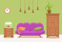Living room cozy interior with colorful sofa. Pillow, cat, cabinet,  lamp, bedside table, aquarium, house plant. Vector illustration of home design with Royalty Free Stock Photo