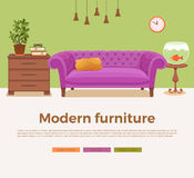 Living room cozy interior with colorful sofa. Pillow, lamp, bedside table, aquarium, house plant. Vector illustration of home design with furniture in cartoon Royalty Free Stock Photo