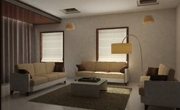 Living Room 3D Rendered Royalty Free Stock Photography