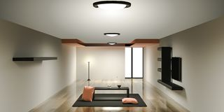 Living room 3D rendering stock illustration