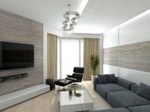 Living room 3D rendering Stock Photo