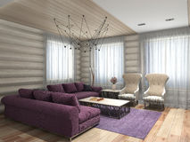 Living room 3D rendering Stock Photos