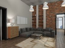 Living room 3D rendering Stock Images