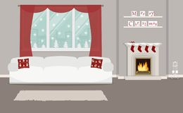 Living room, decorated with Christmas decoration royalty free illustration