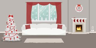 Living room, decorated with Christmas decorations. Living room, decorated with Christmas decoration. The room has a fireplace, a Christmas wreath, a white sofa Royalty Free Stock Images