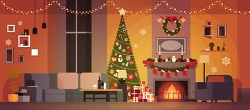 Living Room Decorated For Christmas And New Year With Fir Tree , Fireplace And Garlands Holidays Home Interior. Flat Vector Illustration Stock Photo