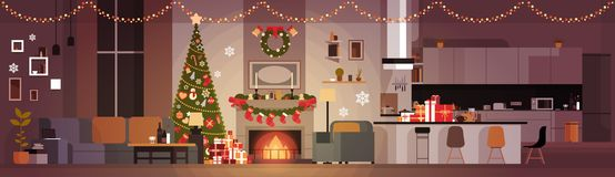 Living Room Decorated For Christmas And New Year Horizontal Banner Pine Tree , Fireplace And Garlands Holidays Home. Interior Flat Vector Illustration Stock Photos