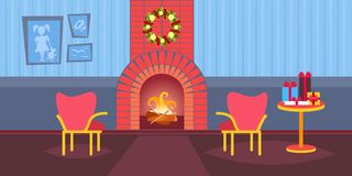 Living room decorated merry christmas happy new year fireplace home interior decoration winter holiday concept flat. Horizontal vector illustration royalty free illustration