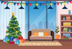 Living room decorated merry christmas happy new year pine tree home interior decoration winter holiday concept flat. Horizontal vector illustration stock illustration