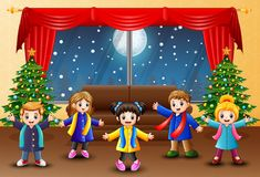 Living room decoration for christmas and new year with happy kids. Illustration of Living room decoration for christmas and new year with happy kids stock illustration
