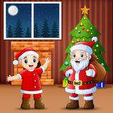 Living room decoration for christmas and new year with santa and kid. Illustration of Living room decoration for christmas and new year with santa and kid Royalty Free Stock Photography