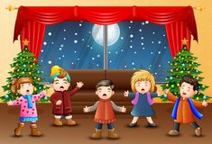 Living room decoration for christmas and new year with singing kids. Illustration of Living room decoration for christmas and new year with singing kids royalty free illustration