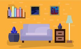 Living room decoration with vintage concept vector illustration
