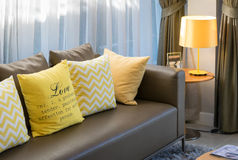 Living room design with brown sofa Royalty Free Stock Image