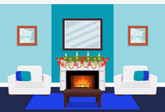 Living room design with fireplace and tree branch. Vector illust. Living room interior with tree branch on fireplace. Christmas design. Vector in flat style Stock Photography