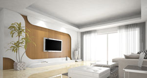 Living room design, Northern Europe. Modern design,white,wood Stock Photos