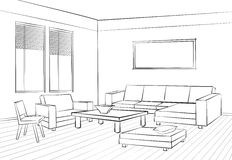 Living room design Room interior sketch Interior furniture conc Royalty Free Stock Photography