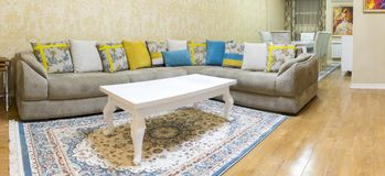 Living room design with sofa and carpet stock photography
