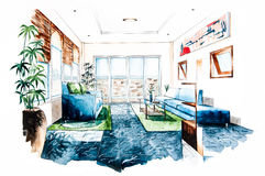 Living room design of watercolor painting Stock Photos