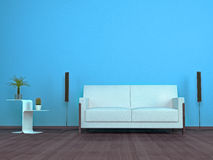 Living room detail with a white leather sofa. And designer table Stock Photo