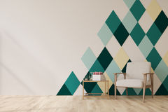 Living room, diamond pattern wall. Living room interior with a white and green diamond wall pattern, a white armchair, a coffee table and a wooden floor. 3d Stock Images