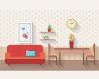 Living room and dining room with furniture Royalty Free Stock Images