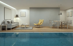Living room, dining room and swimming pool in modern house. 3d rendering of pool and interior stock photo