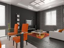Living a room with a dining zone Stock Images