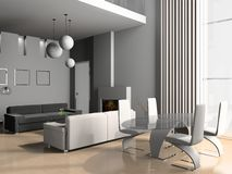Living a room with a dining zone Royalty Free Stock Photography