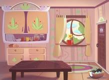 Living room drawn in cartoon style vector illustration