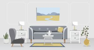 Living room elegant interior in grey and yellow. Sofa with table, nightstand, paintings, lamps, vase, flower in pot, carpet, stock illustration
