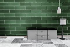 Living room with emerald green brick wall background royalty free illustration